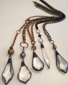 Vintage crystal mixed metal and gemstone necklaces. These are all for sale on Etsy at https://www.etsy.com/shop/LisaJillJewelry/about