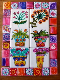 Flower Tiles Mosaic Tiles handpainted Tiles por BOWERBIRDMOSAICS