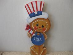 HP Gingerbread Patriotic- fire work SHELF SITTER hand painted USA
