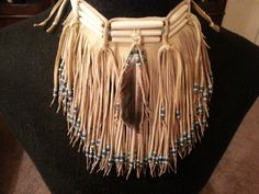 Native American leather fringed choker by CreativeNative54 on Etsy