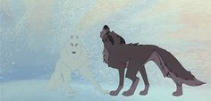 """A dog cannot make this journey alone. But maybe...a wolf can."" gif"