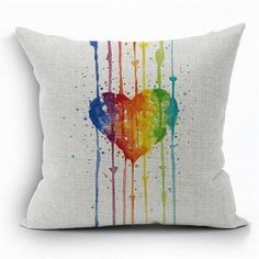 Rainbow Heart Pillow Cover - LGBT Gay And Lebian Pride
