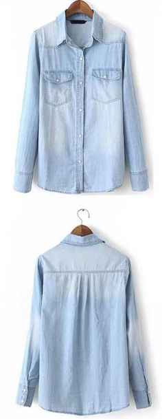 Yes to everything related to this Light Blue Lapel Long Sleeve Bleached Denim Blouse! Fitted perfectly with a nice pair of white jeans and nude shoes. Denim Blouse, Blouse Outfit, Long Blouse, Sneaker Outfits Women, Sport Outfits, Bleached Denim, Denim Fashion, Women's Fashion, Trendy Dresses