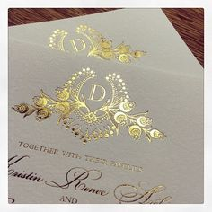 The beautiful gold #foil embellishments of our #letterpress design Cathryn