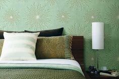 Calming green bedroom