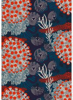 Graphic Design - Pattern Design - Tissus Marimekko Merivuokko Pattern Design : – Picture : – Description Tissus Marimekko Merivuokko -Read More – Textile Prints, Textile Patterns, Print Patterns, Lino Prints, Block Prints, Surface Pattern Design, Pattern Art, Pattern Painting, Coral Pattern