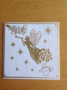 Sue Wilson angel die in gold, Christmas card