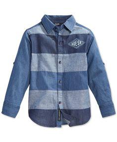 Guess Little Boys' Striped Denim Button-Up Shirt Baby Shirts, Kids Shirts, Baby Boy Outfits, Kids Outfits, Denim Shirt, Jeans, Stylish Boys, Kids Wear, Printed Shirts