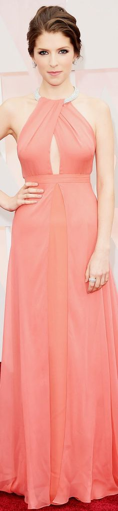 Anna Kendrick, who is set to perform during the ceremony tonight, looks elegant in custom Thakoon dress with embellished halter neck. 2015 Oscar Red Carpet