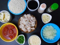 Shrimp risotto mise en place