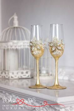 Rhinestone wedding, champagne flutes, gold and crystals, toasting glasses…