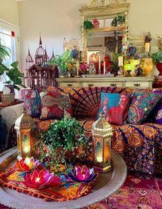 47 Cozy Bohemian Living Room Decor Ideas – Home Decoration Bohemian Living Rooms, Bohemian House, Boho Room, Bohemian Interior, Living Room Decor, Bedroom Decor, Hippie Living Room, Bohemian Furniture, Hippie Bohemian