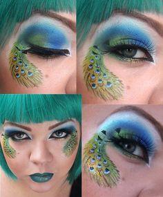 Makeup Ideas Popular Peacock Eyes Make Up With Green Lipstick Peacock Eye Make Up: Dignity And Radiate An Aura of Beauty Peacock Eye Makeup, Bright Eye Makeup, Eye Makeup Art, Eye Art, Green Lipstick, Lipstick For Fair Skin, Halloween Eye Makeup, Maquillage Halloween, Pfau Make-up