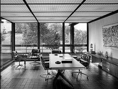 John Deere executive office in the by Warren Platner. Home Garden Design, House Design, Brutalist Buildings, Southern House Plans, Vintage Interiors, Modern Interiors, Mid Century House, Small House Plans, House Layouts