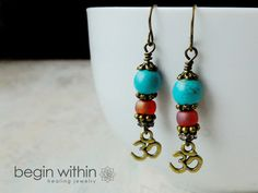 OM Earrings Yoga Inspired Spiritual Jewelry by BeginWithinJewelry | CLICK and use coupon code PIN444 to save yourself 10% now!