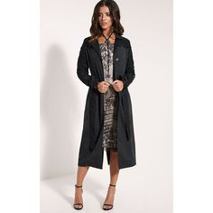 Karolina Black Crochet Lace Detail Trench Coat ($16) ❤ liked on Polyvore featuring outerwear, coats, black, lace coat, goth trench coat, trench coat, lace trench coats and goth coat
