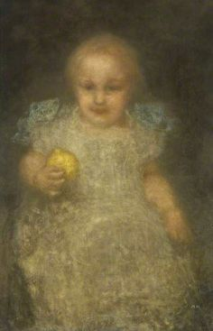 Matthijs Maris (Dutch painter, etcher and lithographer) 1839 - 1917 Child with a Lemon: Barye Swan, ca. 1887–90 oil on canvas 76.2 x 50.8 cm.