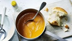 Mary Berry's butternut squash soup recipe - BBC Food This easy butternut squash soup recipe is completely dairy-free! It has added red pepper and ginger, and is deliciously smooth. For this recipe you will need a pint deep-sided saucepan. Mary Berry, Lentil And Bacon Soup, Roasted Butternut Squash Soup, Lentil Soup, Kumquat Confit, Soup Recipes, Cooking Recipes, Kitchen Recipes, Bbc Recipes