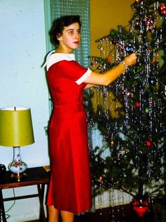 """Arlene's eyes could not contain her dismiss, """"one piece at a time Minnie, honestly! Ghost Of Christmas Past, Old Christmas, Old Fashioned Christmas, Merry Little Christmas, Retro Christmas, Christmas Pictures, Christmas Holidays, Christmas Trees, Vintage Christmas Dress"""