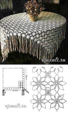 Delicadezas en crochet Gabriela: Mantel floral de motivos y con flecos...♥ Deniz ♥