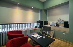 SYRB Balcon East #syrb #modern #interior #design #entertainment #room #red #blue #line