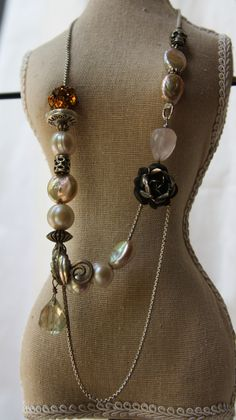 Pearls threaded on David Yurman box chain, Sterling vintage signes rose and leaf, vintage elements…just amazing. One of a kind - DIRECT LINK http://shelbilavender.com/necklaces-2/attachment/023/#