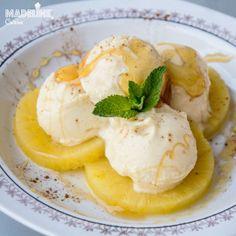 Inghetata de ananas / Pineapple ice cream - Madeline's Cuisine Sorbet, Parfait, Ios, Ice Cream, Cooking, Breakfast, Mousse, Photograph, Rainbow