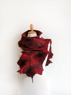 Red scarf nuno felt merino wool with lace and by GabardineCouture