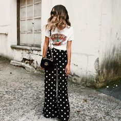 wide leg pants, polka dot pants, street style, wide leg pants outfit, graphic tee outfit, polka dots outfit