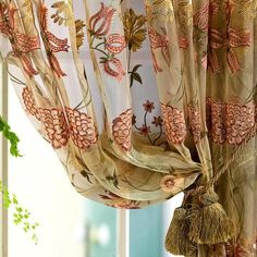 French European Shabby Floral Chic Embroidery Sheer  Curtain Panel
