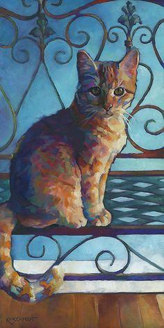 Louisiana Edgewood Art Paintings by Louisiana artist Karen Mathison Schmidt: Sitting Pretty