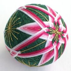 Cool Pink Green and White Temari Christmas Ornament
