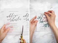 Make these sweet floral wedding invitations using nothing more than a store bought template, vellum and cardstock | Pipkin Paper Company #weddinginvitation
