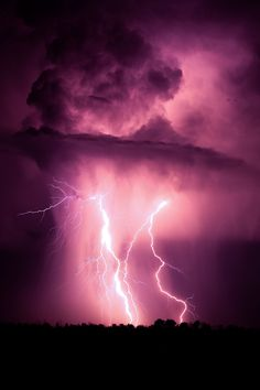 Dark skies and bright pink clouds from the flash of multiple lightning strikes Thunder And Lightning, Lightning Storms, Purple Lightning, Thunder Clouds, Lightning Flash, Cool Pictures, Beautiful Pictures, Tornados, Thunderstorms