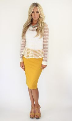 Lime Lush Boutique - Mustard High-Wasted Skirt, $32.99 (http://www.limelush.com/mustard-high-wasted-skirt/)