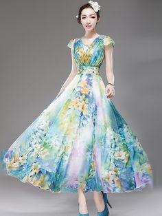 Deep Blue Floral Print Chiffon Maxi Dress   Maxi dress with ...