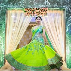 Planning to shop silk half sarees? Here are 20 colorful half saree designs and how to style it with utmost elegance. Bridal Silk Saree, Indian Bridal Lehenga, Indian Bridal Outfits, Saree Wedding, Half Saree Designs, Bridal Blouse Designs, Lehenga Designs, Saree Blouse Designs, Sari Blouse