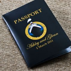 for Jaime's wedding:  Deposit - Passport Invitation or Save the Date (Cruise Ship Wedding). $50.00, via Etsy.