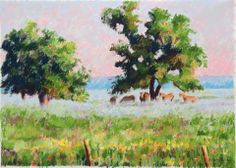 #Morning Mist #art - We were driving through the Texas Hill Country in the early morning when I saw a pink sunrise and a veil of fog over the fields and trees with the horses gathering around a large oak - A beautiful sight...