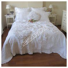 Unique handmade Dahlia duvet cover, Fabric Flower Appliqued Bohemian bedding duvet cover queen king white Linen mandala inspired Nurdanceyiz