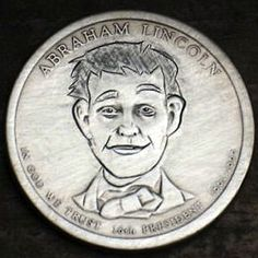 Joe Gallagher - Young Abe Lincoln (One Dollar Coin) One Dollar, Dollar Coin, Hobo Nickel, Lincoln, Buffalo, Coins, Carving, Rooms, Wood Carvings