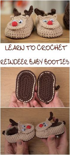Crocher Reindeer Baby Booties
