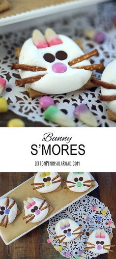 Make some adorable Bunny S'mores for your Easter celebration! Cute Treat to add to the dessert table:)
