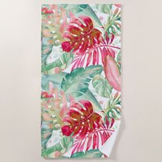 PIXDEZINES CHRISTMAS RED TROPICAL FOLIAGE BEACH TOWEL Custom Beach Towels, Succulents Diy, Beach Day, Red Christmas, Invitation Cards, Art For Kids, Wedding Gifts, Print Design, Create Yourself