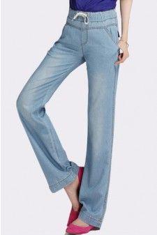 Washed Light Blue Elastic Waist Wide Leg Jeans 01626