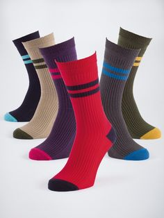 Heel & Toe HJ Softop™ Sock Selection Pack - The ultimate comfort sock for men. Made with the same clever knitted, non-elastic top as our other HJ Softop™ socks, this new pack has been made exclusively in these colours for Peter Christian. A mix of brights and more subdued colours means you'll have a sock for every trouser/shoe combination the season can throw at you.
