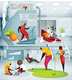 great Work place. by Manuel Canales. Illustration for Vida Magazine.
