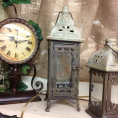 Antiqued clocks & lanterns available at Serendipity Market on Danforth, next to Teds, in Edmond, OK