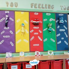 """Amazing """"How are you feeling today"""" display wall. We love this display based on the film Inside Out. Encourage children to understand and acknowledge . Classroom Wall Displays, Class Displays, School Displays, Classroom Walls, Future Classroom, Classroom Themes, Year 3 Classroom Ideas, Display Boards For School, Interactive Walls"""