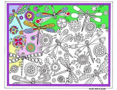 Printable Coloring page Dragonfly instant by RachelMarcusDesign